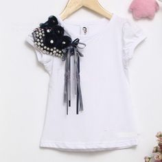 wholesale baby t shirt baby girls tee white lace pearl flower on… Girls Tees, Shirts For Girls, Kids Outfits Girls, Girl Outfits, Little Girl Dresses, Girls Dresses, Flower Shorts, Fashion Project, T Shirt Diy