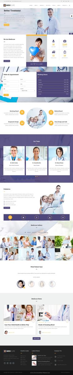 Buy Medicure - Medical, Hospital and Clinic Template by truecoder on ThemeForest. Introduction Medicure is a HTML Template suitable for Medical, Hospital, Dental and Clinic. Brochure Layout, Web Layout, Layout Design, Logo Design, Website Layout, Website Themes, Website Ideas, Business Card Maker, Unique Business Cards
