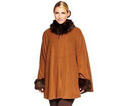 Joan Rivers Fleece Cape with Faux Fur Accents