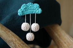crochet brooch love