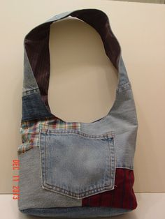 Denim Upcycled Slouch Bag Boho Bag Hobo by BilliesBagsandThings, $20.00