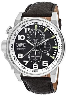 Men's Invicta Black Genuine Leather   Band Color: Black Band Length (in.): 9 Band Material: Black Genuine Leather with reptile print Band Type: Strap Band Width (mm.): 22 Calendar: Date display