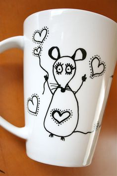 Hand painted Mug Cup Tasse Tazza Taza with customized name and sweet mouse illustration