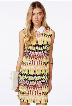 Summer fresh! Luisa Collared Shift Dress In Neon Tribal Print - Dresses - Collared Dresses - Missguided