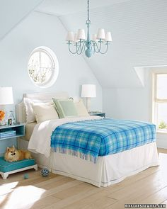 To get this monochromatic look, use colors from the Colorhouse WATER family.