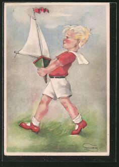 Künstler-AK Swildens: Kleiner Junge trägt ein Spielzeug-Segelboot 0