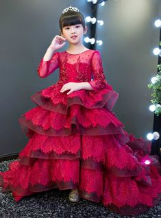 In Stock:Ship in 48 hours Burgundy Long Sleeve Ruffles Lace Flower Girl Dress Red Dresses For Kids, Kids Party Wear Dresses, African Dresses For Kids, Gowns For Girls, Frocks For Girls, Wedding Dresses For Girls, Dresses Kids Girl, Kids Gown Design, Girls Frock Design