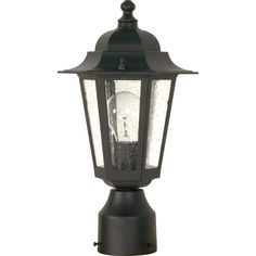 Nuvo Lighting Cornerstone 1 Light Textured With Clear Seed Post Lantern