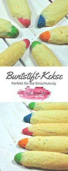 Perfekt für die Einschulung sind diese Buntstift-Kekse. Aus einem einfachen Butterplätzchenteig lassen sich schnell diese bunten Stifte zaubern. Auf dem Blog habe ich das Rezept für dich.
