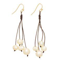 Wholesale gold fishhook earrings brown chord tassel withivory fresh water pearl