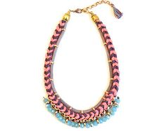 Tribal Statement Necklace, Woven Necklace, Fabric Necklace, Crochet Necklace, Braided Jersey in Coral and Purple, Turquoise Faceted Beads