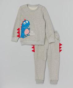 Look at this Leighton Alexander Gray Dino Sweatshirt