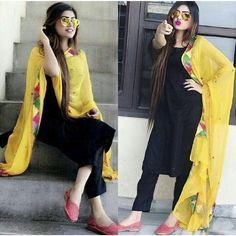 New cotton black color straight suit with yellow dupatta. Black Patiala Suit, Black Punjabi Suit, Black Pakistani Dress, Black Kurti, Punjabi Suits, Patiala Dress, Punjabi Dress, Punjabi Girls, Patiala Suit Designs
