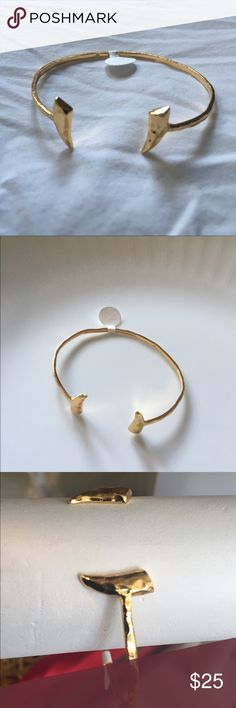 Gorjana Fancy Horn Cuff 18k gold plated cuff with horn ends adjustable. Gorjana Jewelry Bracelets