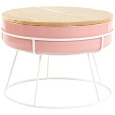 Scott Jones Design Tabla Coffee Table Pink/ash By ($416) ❤ liked on Polyvore featuring home, furniture, tables, accent tables, fillers, pink table, ash furniture, pink candy table, storage furniture and storage coffee table