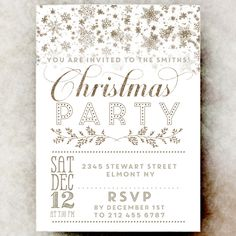 Christmas Party Invitations  Wreath  Kraft  Custom Holiday