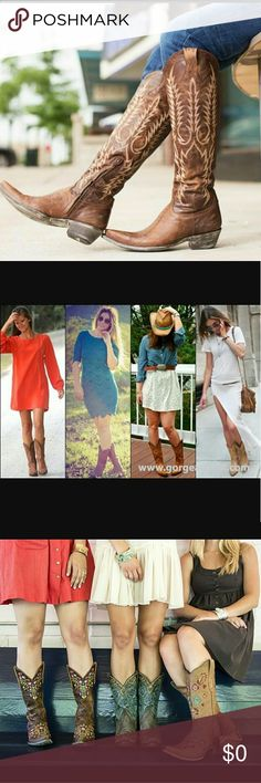 ISO Cowboy boots for thin/ skinny/slim calves Searching for cowboy boots for thin calves, I want a tighter fit usually I buy some and it fit too loose, so please comment and share if you find any.. Thank you... The photos above are just for reference/example. Shoes