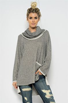Lazy Day Cowl Neck Knit Top - ShopLuckyDuck  - 1