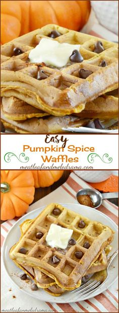 Easy Pumpkin Spice Waffles are perfect for fall. Can easily reheat them in the toaster for a quick breakfast during the week!