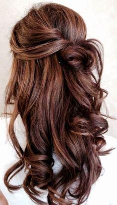 Inspiration: Half updo with curls hair colors, beauti hair, bachelorette hair ideas, wedding hair half updos, half and half hairstyles, princess hairstyles, hair style, half up half down hairstyles, homecoming down hairstyles