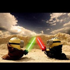 Vamers - Artistry - Fandom - Minion Wars Feel the Force - Star Wars and Despicable Me Mash-Up - Minion Jedi versus Sith by Jeff Quillope Cute Minions, Minions Despicable Me, My Minion, Funny Minion, Humor Minion, Minions Quotes, Minion Mayhem, Minion Pictures, Star Wars