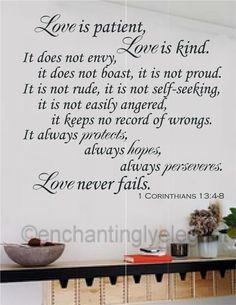 Love Is Patient Love Is Kind Bible Verse Vinyl Decal Wall Sticker Words Letters | eBay