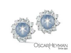 #Starsapphire and #diamond #earrings from #OscarHeyman. We love using fancy shape #diamonds.  #highjewelry #gemstone #jewelry #SimplyTheFinest #madeinamerica #beplatinum  #gems