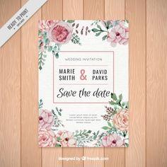 Convite bonito do casamento de flores da aguarela