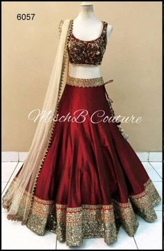 Buy online maroon banglori silk and satin bridal lehenga choli. This bridal lehenga choli is prettified with attractive patterns of embroidered and patch border which gives gleaming look. Lengha Choli, Indian Lehenga, Silk Lehenga, Anarkali, Saree Gown, Heavy Lehenga, Choli Dress, Red Saree, Saree Blouse