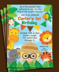 Animal Invitation Printable - You Pick Hair Color - Safari, Jungle, Zoo Animals - Birthday, Baby Shower, Zoo Party
