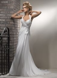 $1049 Maggie Sottero Wedding Dresses - Style Bridget C6002  Description: Maggie Sottero Wedding Dresses, Fall 2012. Embrace feminine chic with this understated Revina chiffon sheath. The halter neckline is trimmed with texturally rich beaded lace, while a dainty satin bow steams from the natural waist. Deep V-neckline, finished with corset closure.
