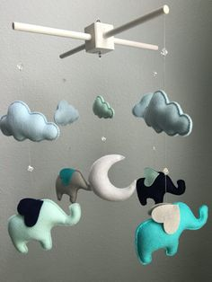 Modern Baby - Mint, Navy, Aqua, Gray - Elephants, Clouds and Moon - Crystal Beads - Handmade - Made To Order - Nursery Decor - Choose Color
