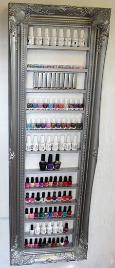 Nail polish display rack silver pewter space door ChicybeeDisplayUK