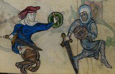 Mann und Fabelwesen mit Buckler, BL Stowe 17 The Maastricht Hours, fol. 120r, 1300-1325, Niederlande.