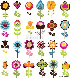 """Download the royalty-free vector """"Retro Flowers"""" designed by festiven at the lowest price on Fotolia.com. Browse our cheap image bank online to find the perfect stock vector for your marketing projects!"""
