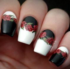 Black and white rose nails