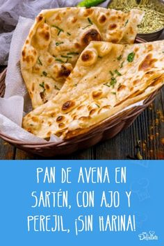 Oat bread in a pan, with garlic and parsley, without flour! - oat bread in pan with garlic - Veggie Recipes, Real Food Recipes, Vegetarian Recipes, Cooking Recipes, Yummy Food, Healthy Recepies, Healthy Snacks, Easy Cooking, Healthy Cooking
