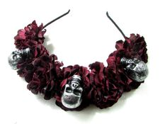 Black Dark Red Sugar Skull Flower Hair Crown от Starcrossedbeauty