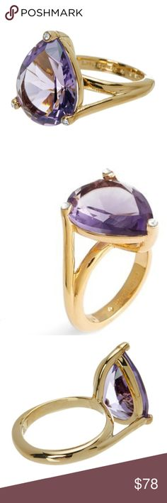 """KATE SPADE Cocktail Ring NWT! Put your passion on display with this ring by Kate Spade New York.  *Gold-plated metal.  *14K gold plated prong set pear cut ring  *Approx. 0.75"""" L x 0.6"""" W ring face *Pear-shaped amethyst glass stone centerpiece.  *Clear glass stone accents.   ❌NO TRADES  I❤️Bundles ❤️REASONABLE OFFERS ONLY PLEASE❤️ kate spade Jewelry Rings"""