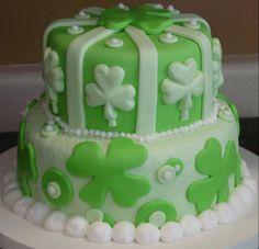 1st Anniversary St. Patricks Day Cake - All MMFondant, buttercream