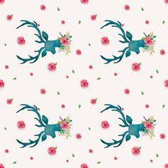 Floral Aqua Deer with Roses - Sideways fabric by shopcabin on Spoonflower - custom fabric