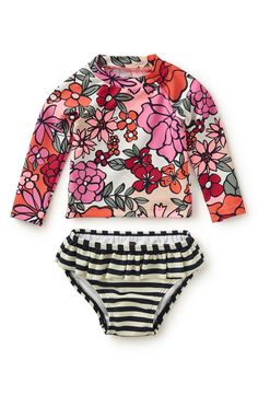 Tea Collection Fiorella Print & Stripe Two-Piece Rashguard Swimsuit (Baby Girls)