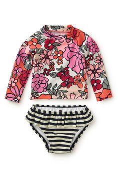Tea Collection 'Fiorella' Print & Stripe Two-Piece Rashguard Swimsuit (Baby Girls)
