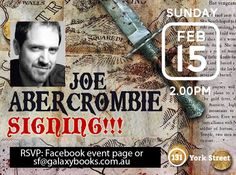 Joe Abercrombie (Lord Grim Dark) will be doing a talk/reading, Q&A and signing during his visit to Galaxy Bookshop upstairs inside Abbey's on Sunday February 15 at 2pm. And there will be prizes for the best costume and runner up. And given the nature of Joe's books, we should we mention that this is a family show. #abbeysbookshop #grimdark #fantasy #books #joeabercrombie BOOK: http://www.galaxybooks.com.au/book/half-the-world-book-9780007560844.do