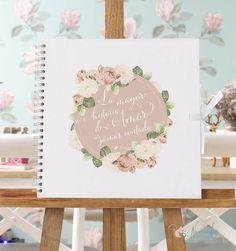 Libro de firmas para boda en kraft blanco de inspiración romántica y floral