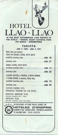 Tarifario 1969