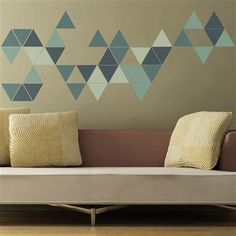 Geometric Triangles Wall Sticker, Mint Green