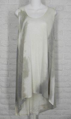 BRYN WALKER Viscose Jersey Tie Dye Hi-Low Hem Luis Tunic Ivory Taupe Grey New XL #BrynWalker #Tunic