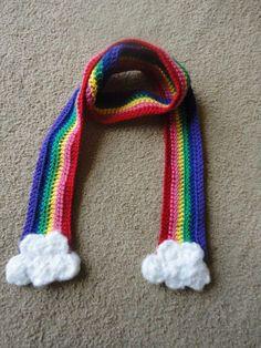 Crochet Child's Rainbow Scarf with Fluffy by KarasKnitKnacks, $15.00
