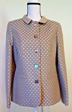Nina McLemore Women's Blazer Size 10 Silk Lined Metallic Jacquard Gala Spring #NinaMclemore #Blazer